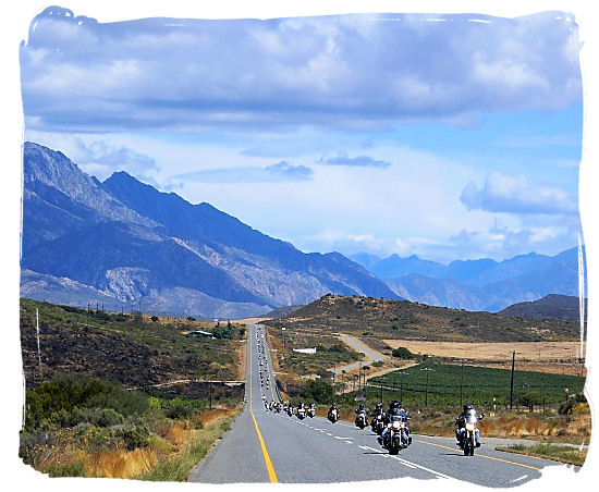 Enjoying the scenery riding a motorbike in South Africa