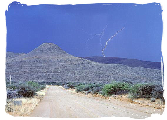 Gravel road and thunderstorm in the Karoo