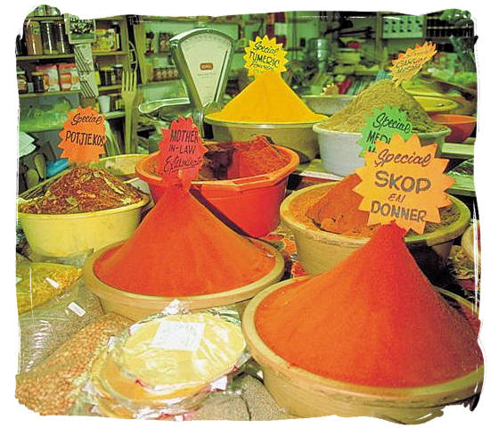 Large variety of curries for sale in an Indian shop in Durban