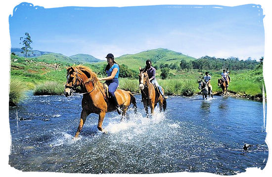 Horse-riding amidst the beautiful scenery of the Drakensberg mountains