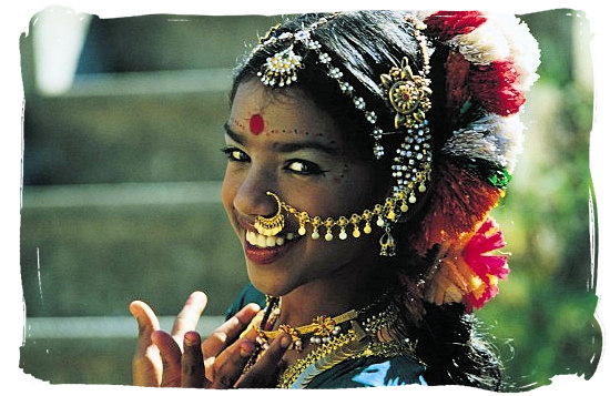 Indian dancer in traditional Indian dress and jewelry