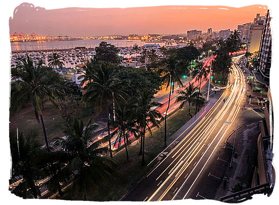 Durban's waterfront at sunset