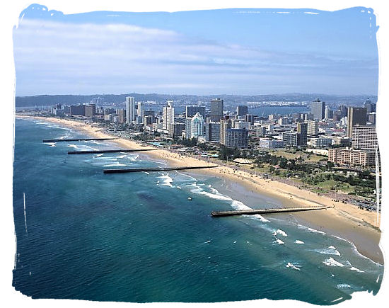 The golden sands of Durban's of famous Golden Mile
