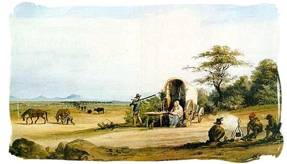 Encampment of a Voortrekker family - The Great Trek in South Africa