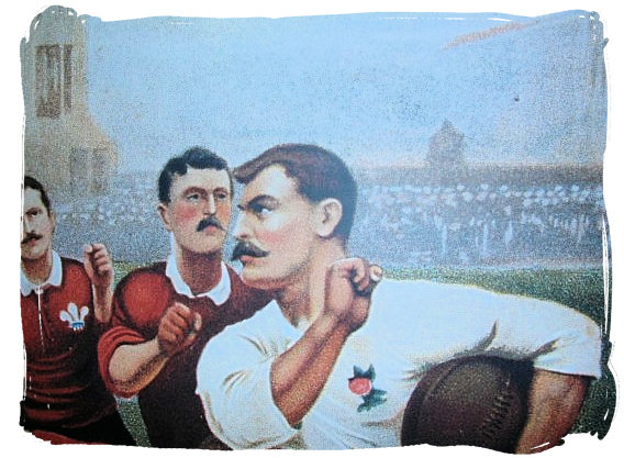 Wales (red) against England (white) in the early days - Springbok rugby