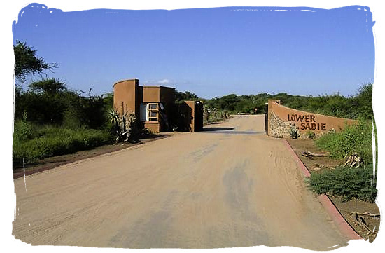 Entrance gate to the camp - Lower Sabie Rest Camp in the Kruger National Park, South Africa
