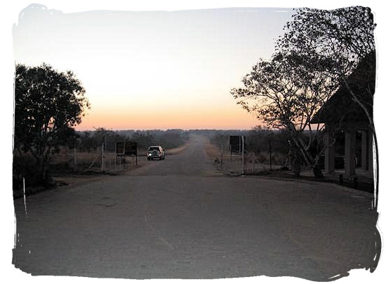 Gate entrance at dawn at Orpen Camp in the Kruger National Park, South Africa