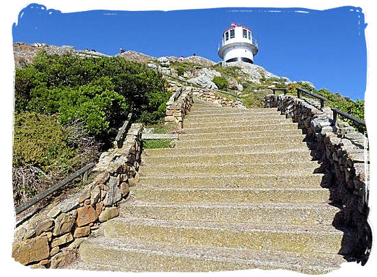 Flights of steps leading up to the old lighthouse on top of Cape Point - Discover Cape Point South Africa and the Cape of Good Hope