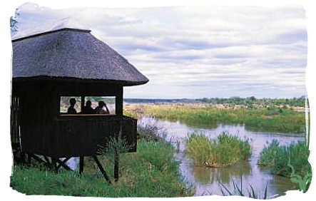 Game and bird viewing hide at Shimuwini bushveld camp, Kruger National Park
