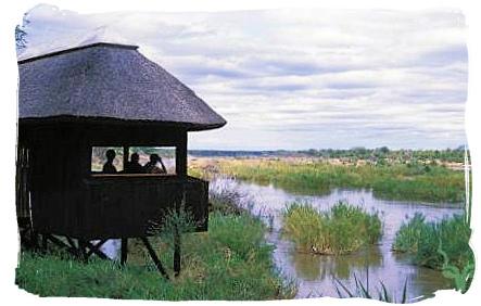 Game and bird viewing hide at Shimuwini bushveld camp, Kruger National Park