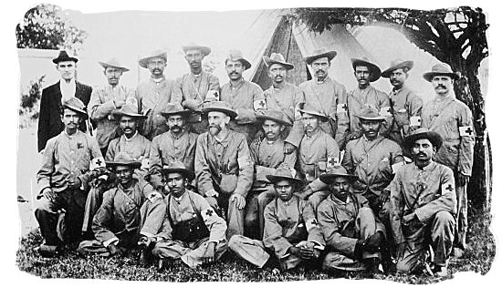 World renown Mohandas Karamchand Gandhi (Middle row, 5th from left), was a member of the Indian Ambulance Corps during the 2nd Anglo-Boer - City of Johannesburg South Africa History, Culture, Museums