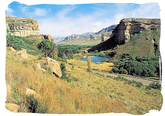 Characteristic landscape of the Golden Gate Highlands National park