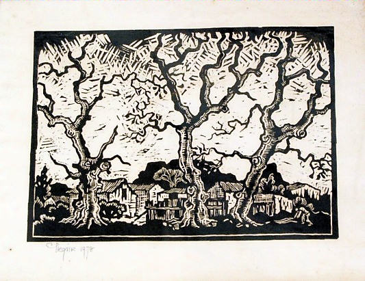 Lino print by Gregoire Boonzaaier (1909-2005) - South African Art, Art Galleries in South Africa, South African Artists