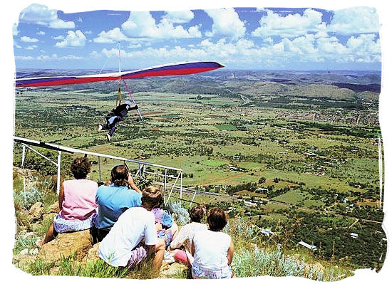 Hang gliding from Magaliesberg at Hartebeespoort dam near Pretoria