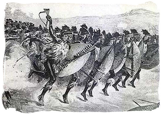 An army of Zulu warriors on the attack