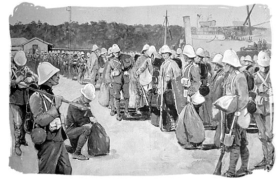1899 painting of British soldiers landing in the harbour of Durban