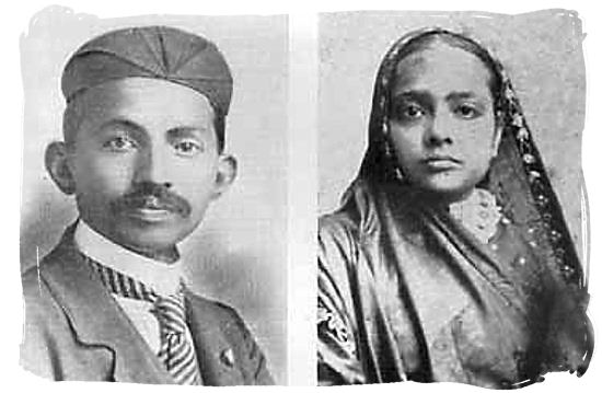 1902 picture of Mahatma Gandhi and his wife Kasturbhai, taken in Durban South Africa