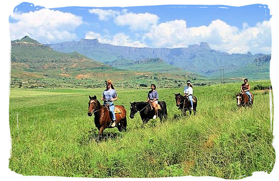 horse riding. Horse riding in the mountains