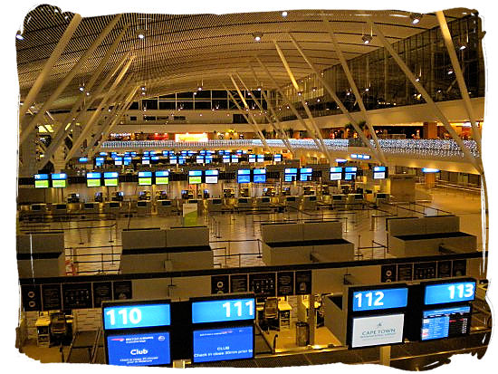 View of the check-in hall of Cape Town international airport.