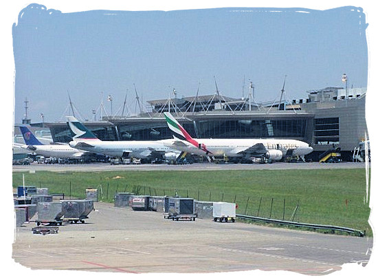 View of the apron at O.R. Tambo international airport at Johannesburg, South Africa.