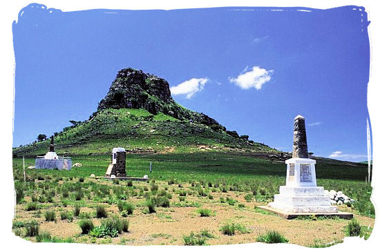 Memorial commemorating the fallen British soldiers at Isandlwana Hill - Anglo Boer war battlefields tours in South Africa.