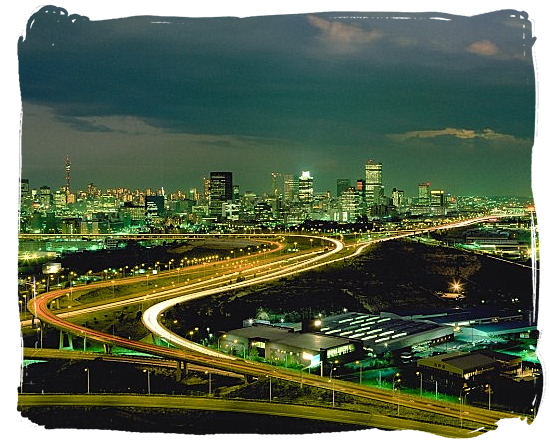 Johannesburg skyline at night, capital of Gauteng Province, place of gold