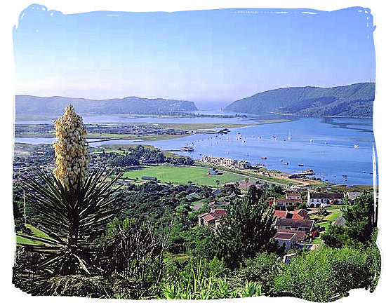Panorama showing the Knysna lagoon with The Heads in the distance