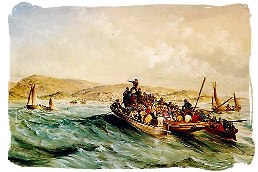 Landing of the 1820 British settlers at Algoa bay - The 1820 British Settlers in South Africa