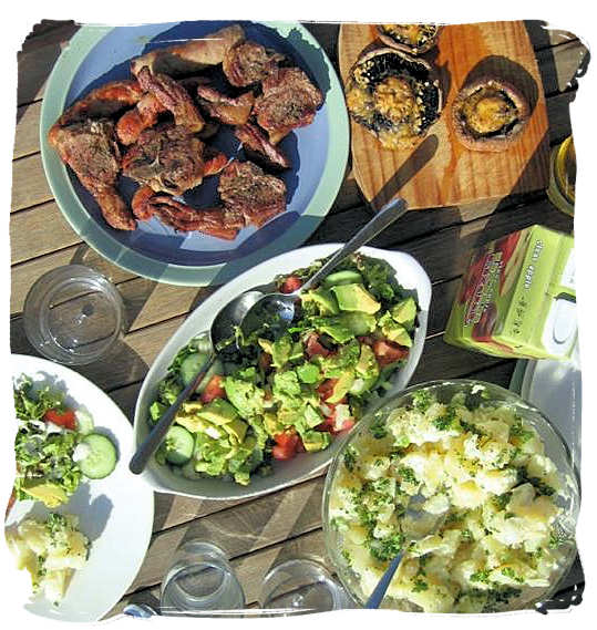Nowadays the starch part of the barbecue meal is often replaced with plenty of fresh vegetables and salads - South African traditional food