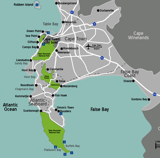 Map of the Cape Peninsula showing the lay-out of the Table Mountain National Park - Cape Town Maps, Cape Town Places and Cape Town Guide