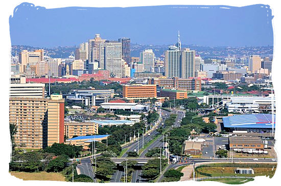 view of the Durban skyline with the hilly suburban areas on the horizon
