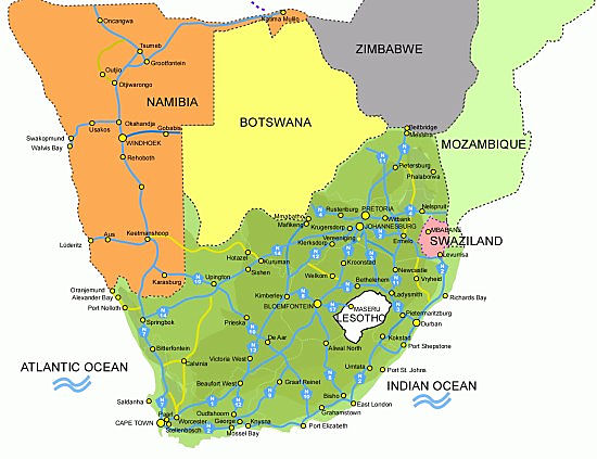 Detailed Map of South Africa its Provinces and its Major Cities