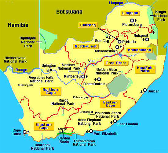 Map showing major cities and airports in South Africa