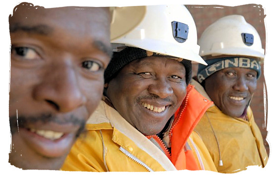 Mine workers at Harmony goldmine at Virginia in the Free State province - languages of south africa, south african language