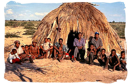 This is a modern-day Bushmen community at Gope, Central Kalahari Game Reserve, Botswana - The San bushmen or San people and the Khoisan