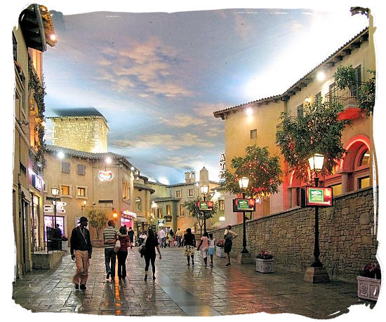 Inside the Montecasino leisure and entertainment center, with the ambiance of old historic Tuscan village in Italy - City of Johannesburg South Africa Attractions, the Top 15