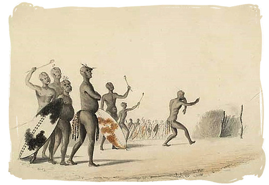 Early 1800s waterpainting of Mzilikazi and a few of his Ndebele warriors - The Ndebele Tribe, Ndebele People, Culture and Language