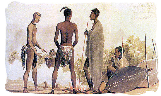 1835 waterpainting of Ndebele (Matabele) warriors by Charles bell - The Ndebele People, Culture and Language