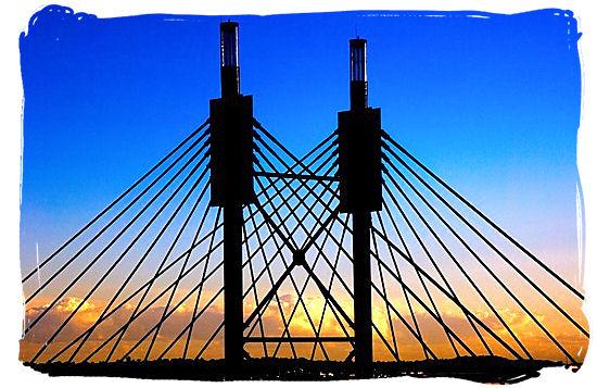 The 42 meters high pylon of the Nelson Mandela Bridge in Johannesburg