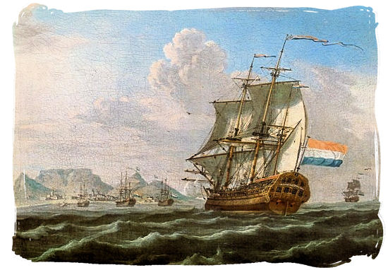 The Noord-Nieuwland in Table Bay, 1762 painting with Table Mountain in the background - History of Cape Town South Africa, Cape of Good Hope History