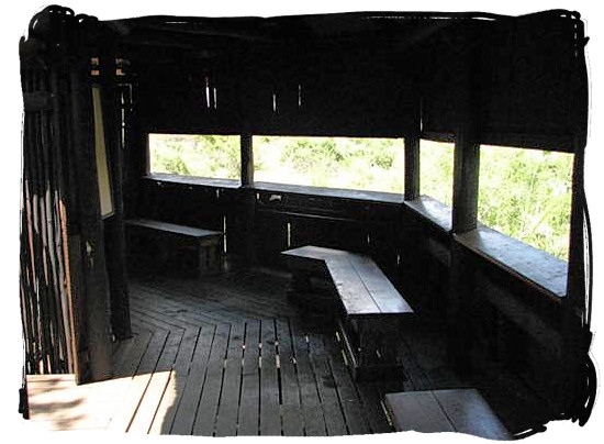Welcome inside the Nthandanyati bird hide near the camp - Lower Sabie Rest Camp in the Kruger National Park, South Africa