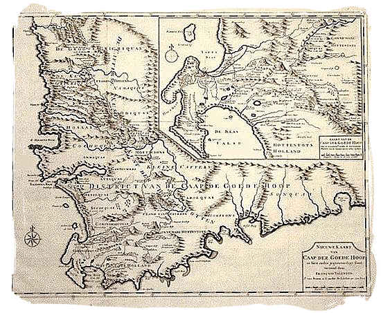 17th century map of the Cape Colony
