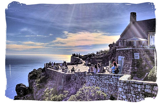 Viewing platform on top of table Mountain with the restaurant in the background - Table Mountain Cape Town South Africa