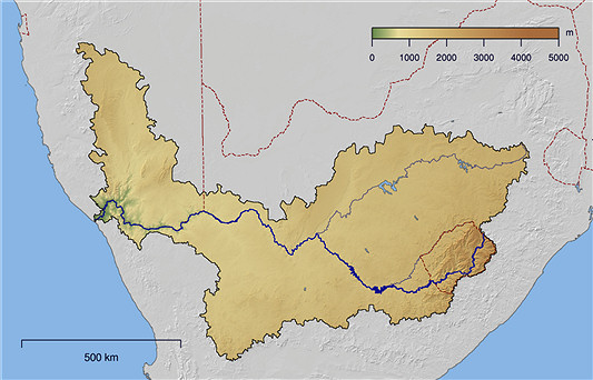 Course and watershed of the Orange river in South Africa