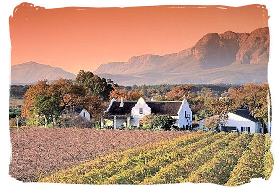 The Paarl Winelands north of Stellenbosch and framed by the majestic Groot and Klein Drakenstein and Franschhoek mountains - Cape Town South Africa wine country, Wine tours in South Africa