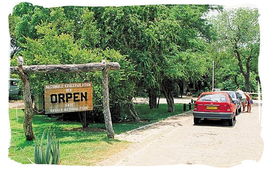 Parking at the entrance of Orpen Camp in the Kruger National Park, South Africa