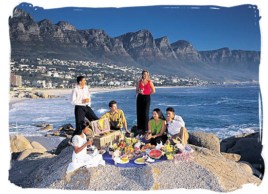 Picnic on the rocks at Camps bay, Cape Town - languages of south africa, south african language