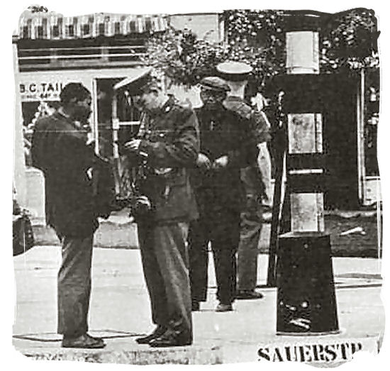 Mid 1970s photograph of police checking passbooks in Johannesburg - History of Apartheid in South Africa