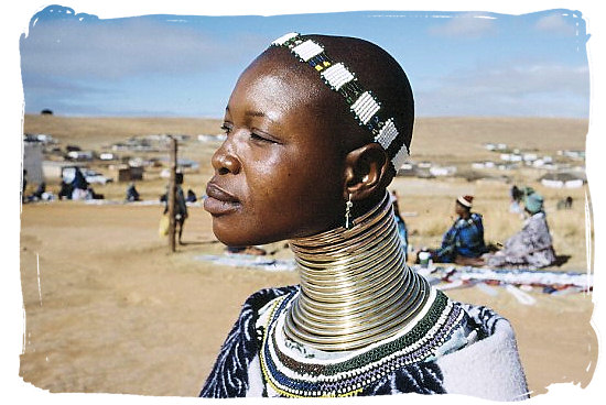 Portrait of a Ndebele woman in full cultural regalia - The Ndebele Tribe, Ndebele People, Culture and Language