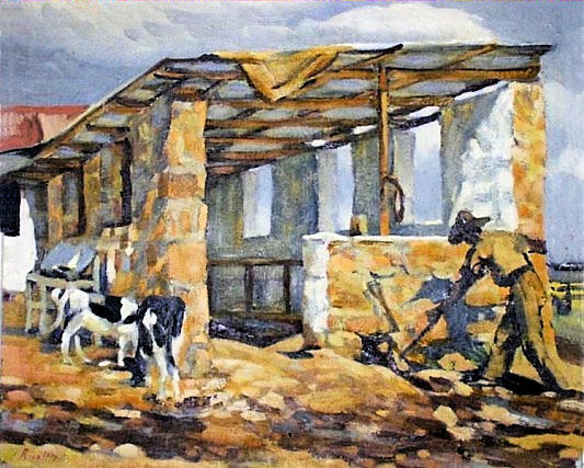 The Cowshed at Glenaholm, dated 1940, painting by Rosa Hope (1902-1972) - South African Art, Art Galleries in South Africa, South African Artists